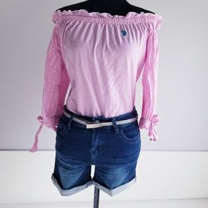 U.S. Polo Assn. Off The Shoulder Blouse - Pink